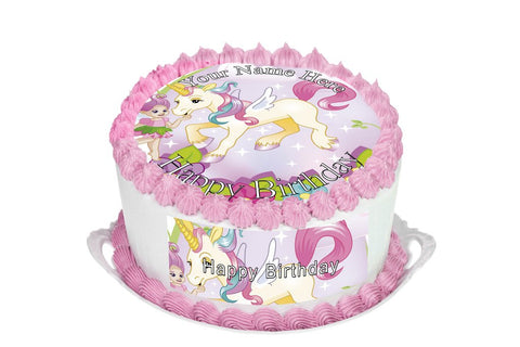 """Personalised Cute Unicorn /& Rainbow 7.5/"""" Edible Icing Cake Topper gold"""