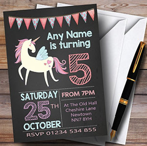 Chalk Bunting Unicorn Childrens Birthday Party Invitations