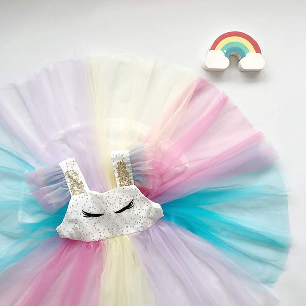 Unicorn Girsl Skirt Tulle Rainbow Princess Dress Toddler Kids Baby Girl Sleeveless