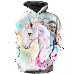 Designer Unicorn Hoodie For Women - Small Medium Large, White with Print