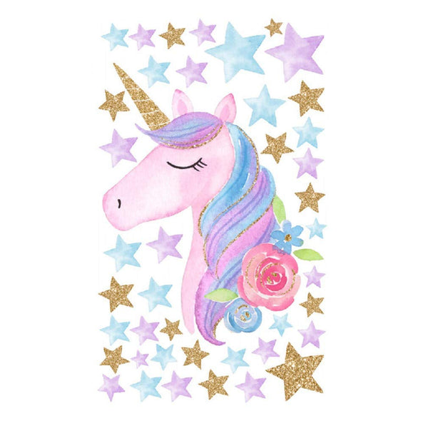 Cartoon Cute Unicorns Star Heart Wall Stickers Wallpaper DIY Vinyl Home Wall Decals Kids Living Room Bedroom Girls Room Decor (B)