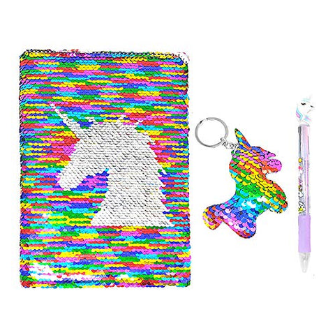 Unicorn Notebook Set | Reversible Sequins | Includes Key-ring, Pen