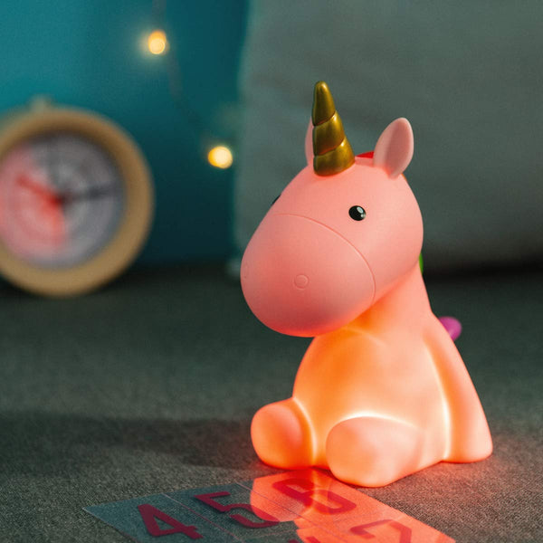 Unicorn Night Light Lamp - Pink with Colourful Mane