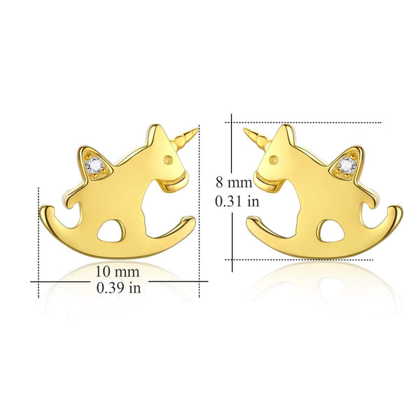 unicorn gold earrings - rocking horse, dimensions
