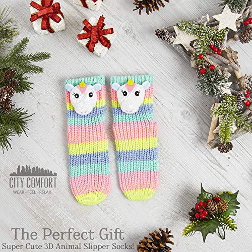 Soft Knitted Unicorn Slipper Socks Rainbow Colours