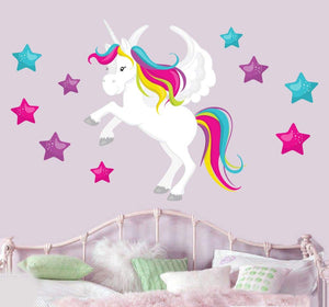 unicorn wall sticker with stars pink blue and green
