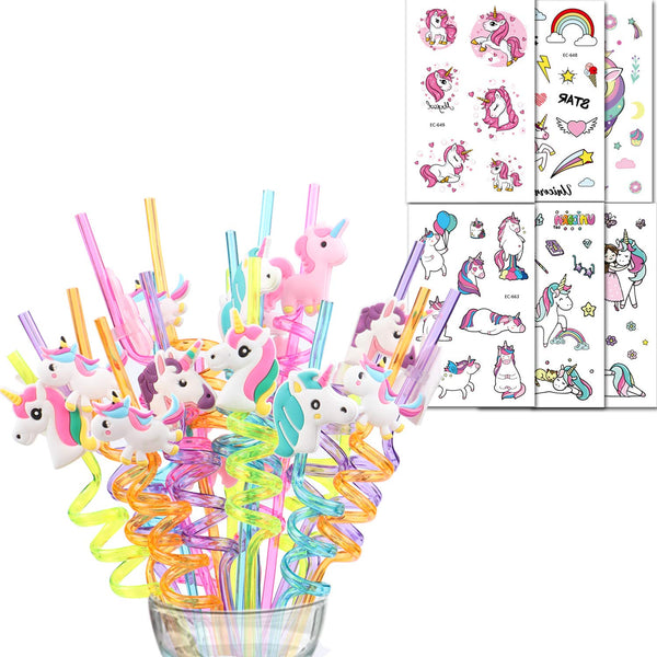 Unicorn Party Bag Fillers - Unicorn Straws and Temporary Tattoos