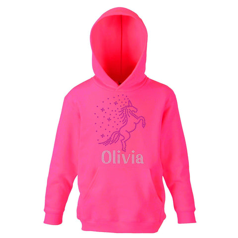 Girl's UNICORN Personalised Hoodie Crystal Dance - Fuschia Pink