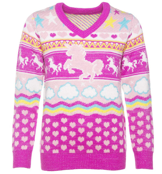 unicorn knitted christmas jumper