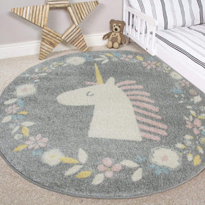 Girls Grey Circular Floral Unicorn Playroom Bedroom Rug