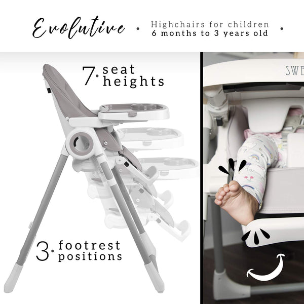 Unicorn highchair with adjustable height - grey