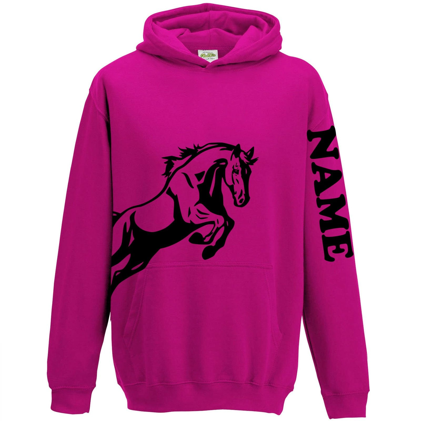 Personalised Equestrian Hooded Jumper for Girls - Deep Pink