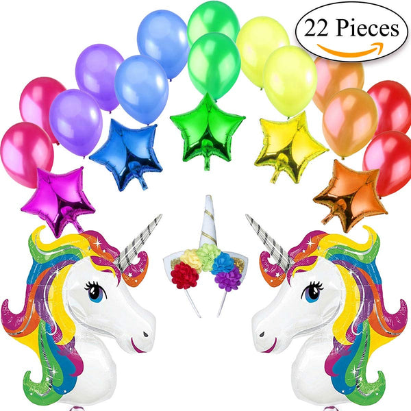 unicorn balloons set 22 pieces - multi-colour