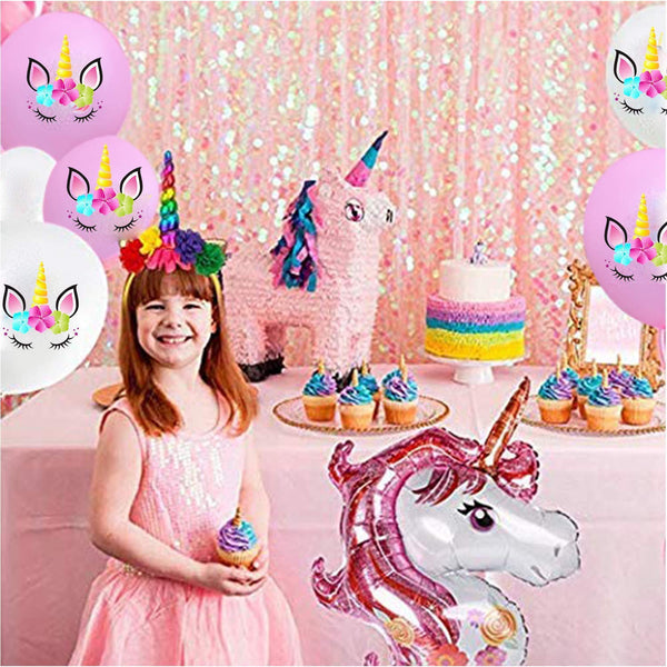 unicorn birthday party balloons
