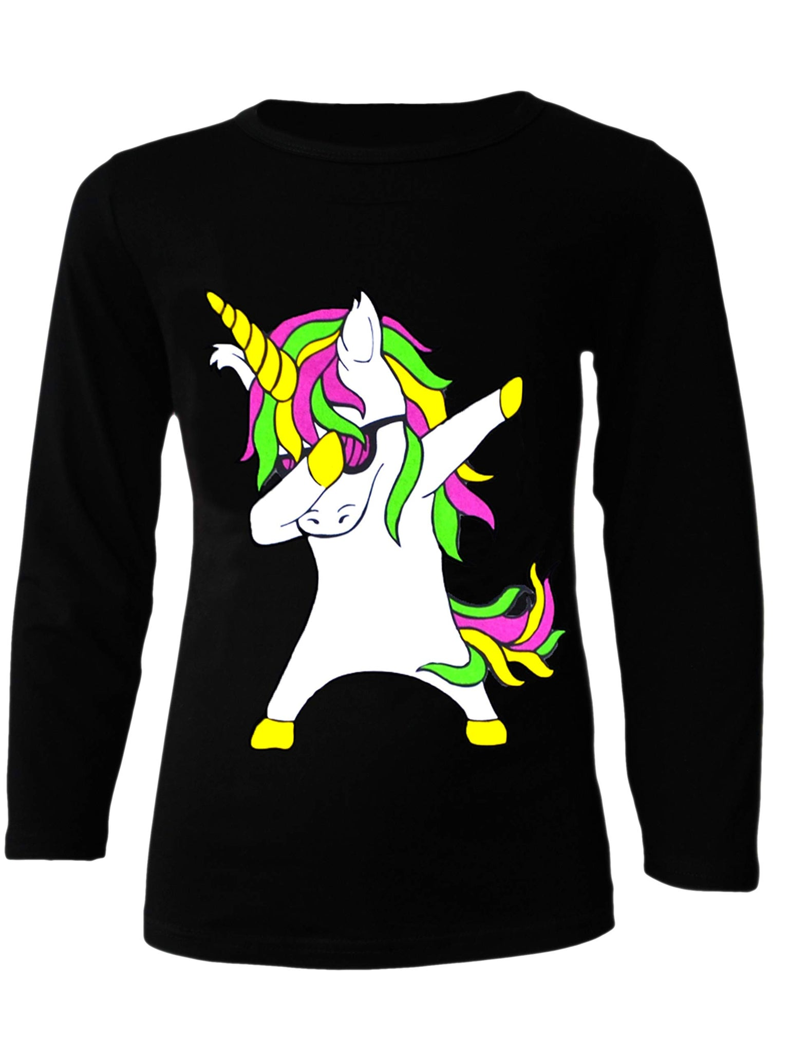 Girls Unicorn Jumper Top Kids Long Sleeve Black Grey T Shirt Jumper Ages 2-13 Years