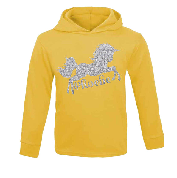 Personalised Unicorn Hoodie Birthday Tops Girls Unicorn Tops Unicorn yellow