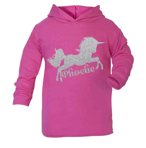 Personalised Unicorn Hoodie Birthday Tops Girls Unicorn Tops Unicorn cerise
