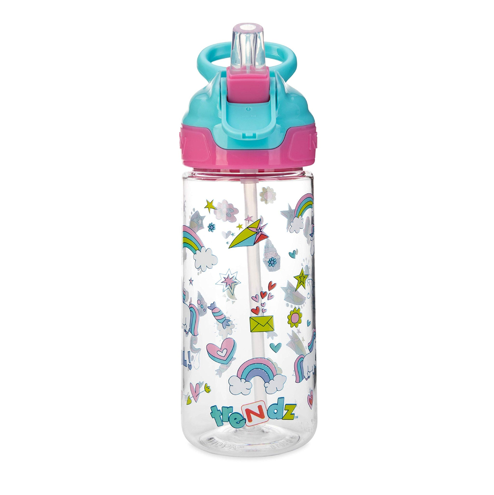 Nuby Trendz Grande Water Bottle, 540 ml, Unicorns