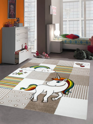 Unicorn rug squares chequered