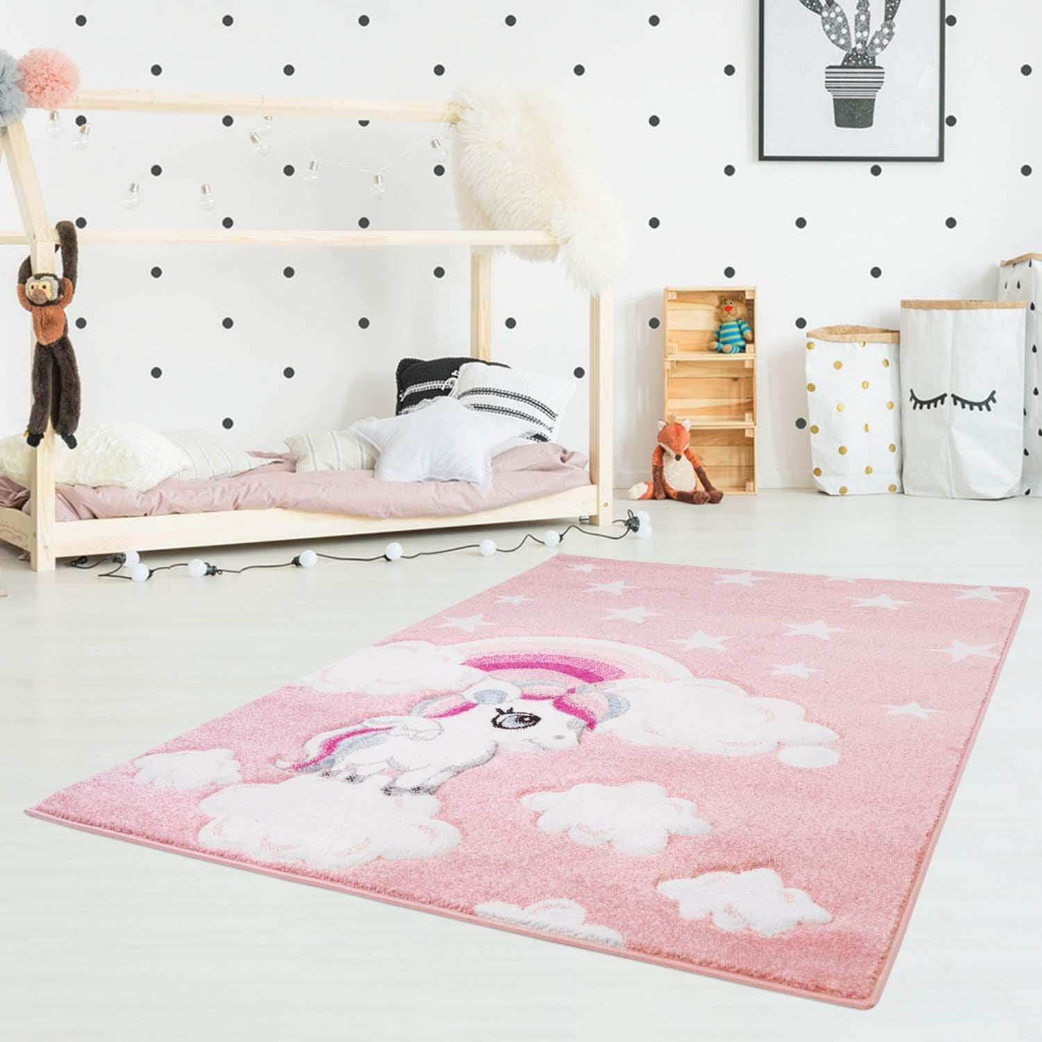 Unicorn Children's Rug - Soft Pink 120x170cm
