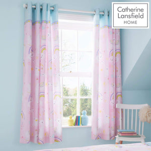 Catherine Lansfield Llama-corn Easy Care Eyelet Curtains Pink 66x72 Inch