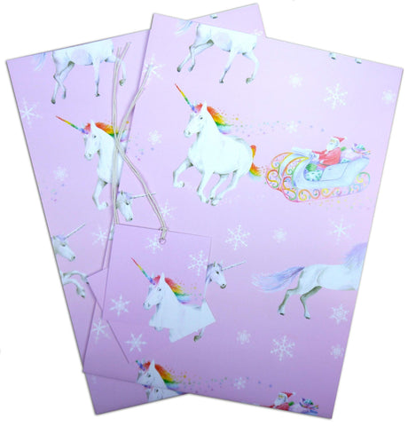 Unicorn and Santa Claus Christmas Gift Wrapping Paper