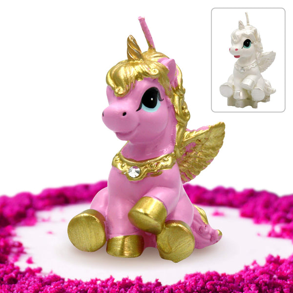 Unicorn Candle Cake Topper Pink and Gold