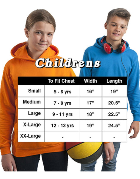 Personalised Equestrian Hoodie Size Chart