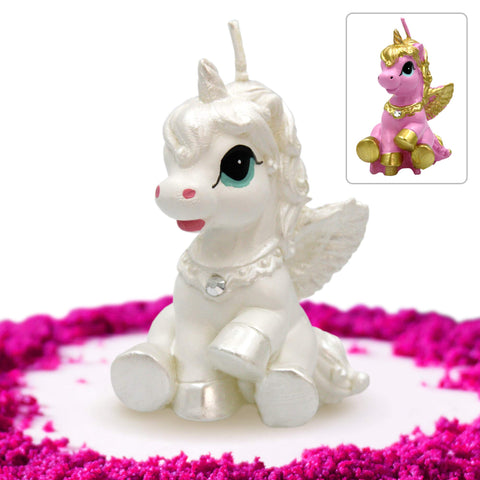 Unicorn Candle Cake Topper White and Silver in Gift Box - Elegant Unicorn Cake Decoration Candle