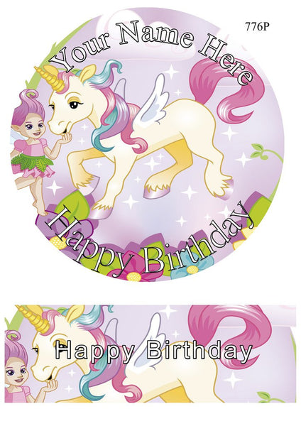 "PERSONALISED Unicorn 7.5"" Inch Round Circular Edible Cake Topper Decoration - Rice Paper"