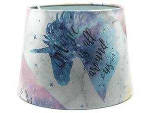Unicorn Table Lamp Shade or Ceiling Light Shade with Quotes - Glittery Pink