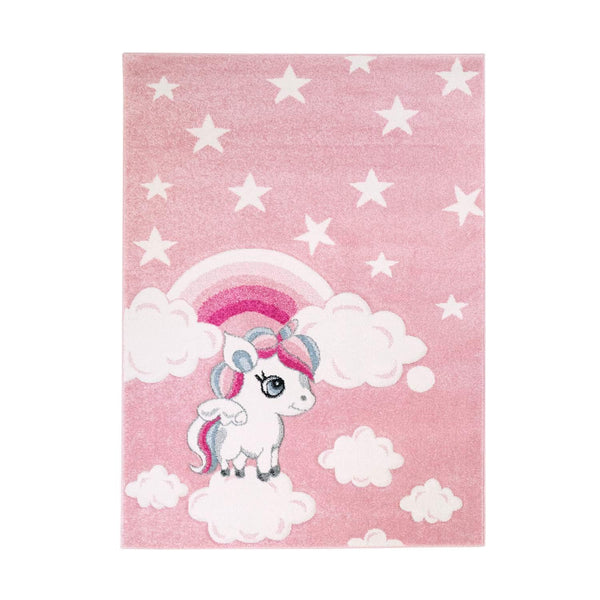 cute unicorn rug in pastel pink