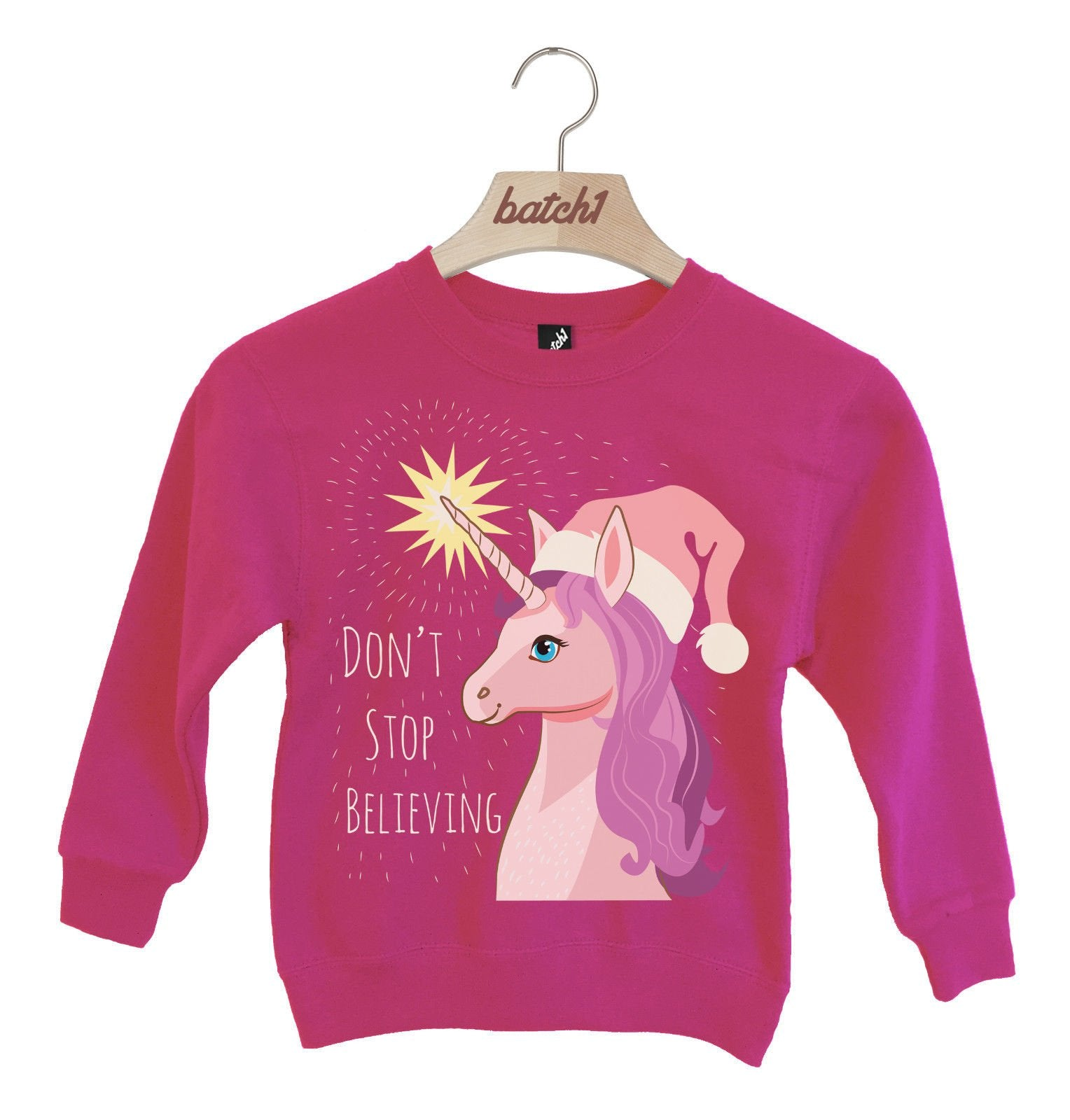 Magical Unicorn Christmas Jumper (7-8 Years, Hot Pink)