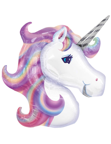 Unicorn head balloon lilac pink mane and white face
