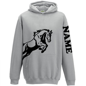 Personalised Equestrian Hoodie Horse Riding Hoody for Girls - Grey