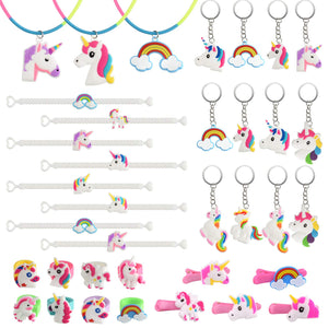 Unicorn Party Bag Fillers for Girls  Unicorn Bracelets, Keychains, Rings, Necklace and Hair Clip (36 Pack)