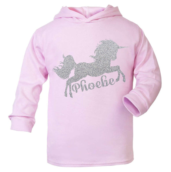 Personalised Unicorn Hoodie Birthday Tops Girls Unicorn Tops Unicorn pale pink