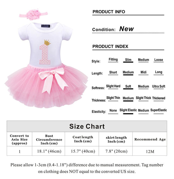 Girls Unicorn Pink Tutu Dress Tulle Tutu Skirt -  1st Birthday Dress