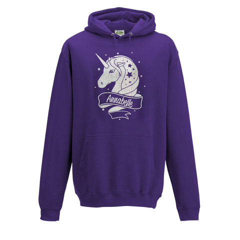 Personalised Unicorn Kids Hoodie For Girls Sapphire Purple- Ages 2-13