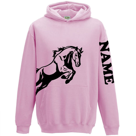 Personalised Equestrian Hooded Jumper for Girls Pink