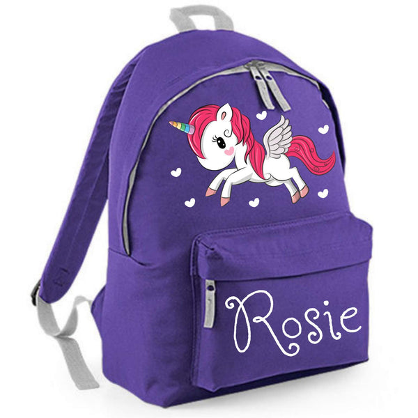 Personalised Unicorn Backpack For Kids - Purple