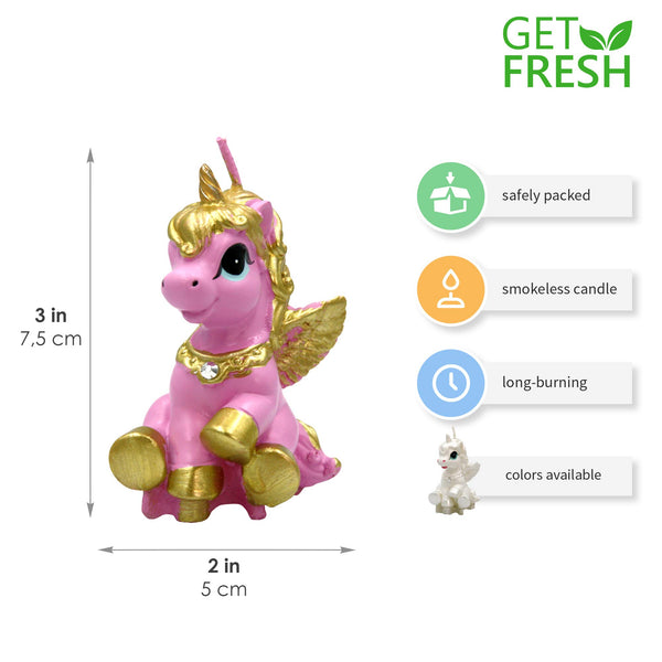 Unicorn Candle Cake Topper Pink and Gold in Gift Box - Elegant Unicorn Cake Decoration Candle