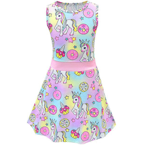 Unicorn Donuts Sleeveless Girls Dress For Kids