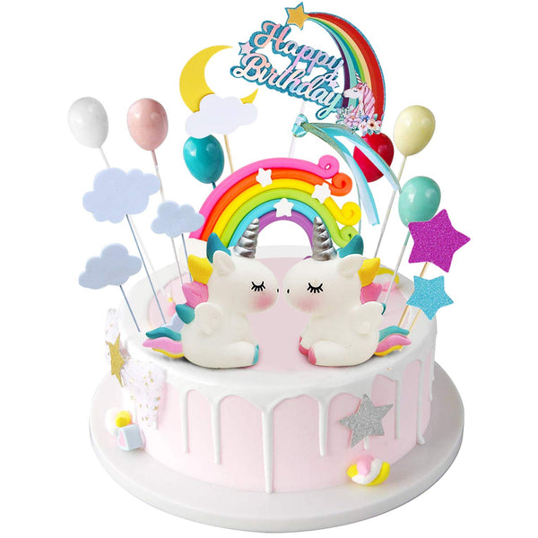 Unicorn Rainbow Cake Topper 21 Piece Set