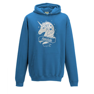 Personalised Unicorn Kids Hoodie Sapphire Blue - Ages 2-13