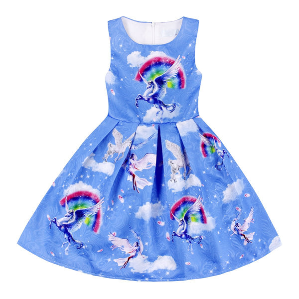 Unicorn Dress with Clouds and Rainbow - Sky Blue Colours
