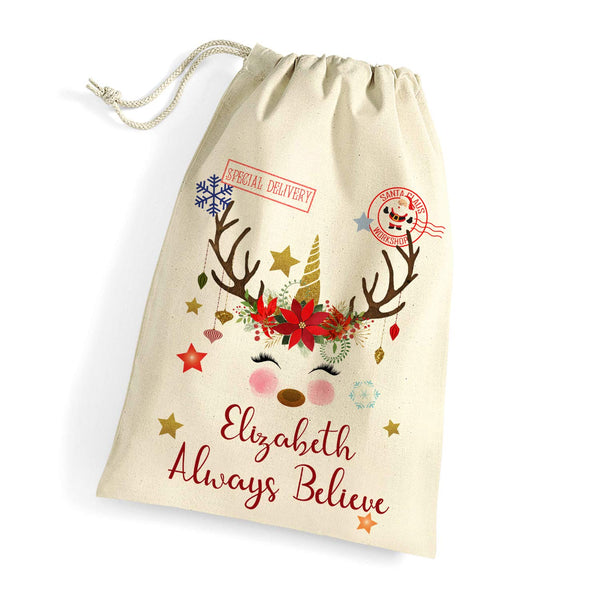 Personalised Unicorn Xmas Sack