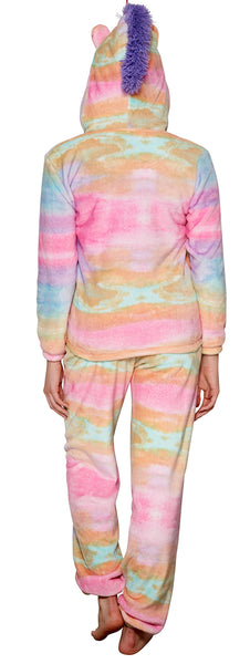 Ladies Girls Hooded Super Soft Unicorn Twosie Pyjamas with 3D Horn and Mane, Rainbow, Medium