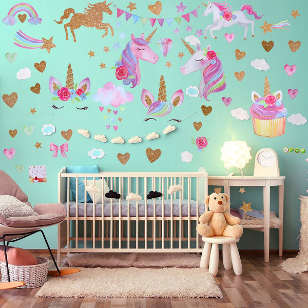 2 Sheets Unicorn Pattern Wall Decals Wall Stickers Decoration for Birthday Christmas Children Bedroom Ornament (Style 1)