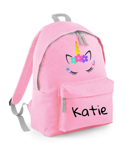 Personalised Unicorn Backpack For Kids - Light Pink with Horn